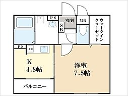 京都府京田辺市草内大切の賃貸アパートの間取り