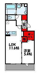 サンフィットハイツ十一号館[2階]の間取り