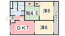 兵庫県姫路市御国野町深志野の賃貸アパートの間取り