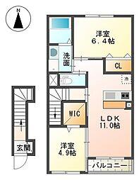 裾野市金沢 新築アパート[00202号室]の間取り