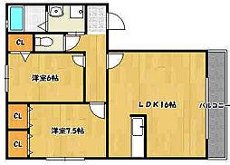 兵庫県神戸市西区白水2丁目の賃貸アパートの間取り