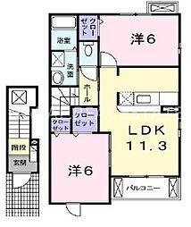 徳島県小松島市大林町字金岡の賃貸アパートの間取り