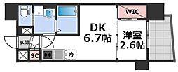 セレニテ谷九プリエ 9階1DKの間取り