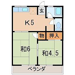 2611コーポワタナベ[2階]の間取り