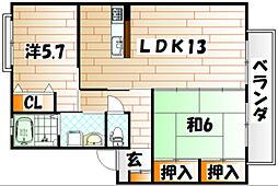 カサブランカパートV A棟[1階]の間取り