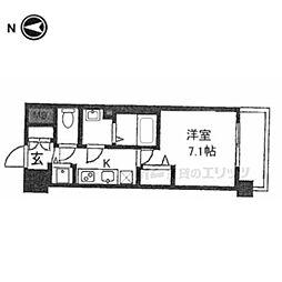 京都市営烏丸線 五条駅 徒歩8分の賃貸マンション 5階1Kの間取り