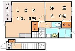 ピュアフレンド1[2階]の間取り