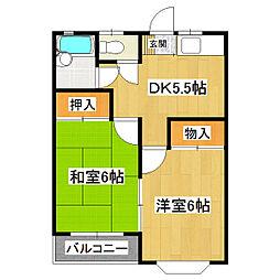 ロイヤルハイツA棟 1階2DKの間取り