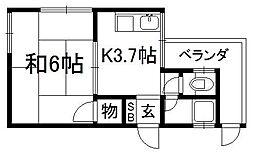京都府京都市伏見区深草西浦町6丁目の賃貸アパートの間取り