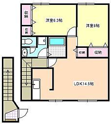 三重県四日市市尾平町の賃貸アパートの間取り
