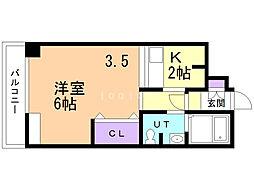 CUBO松陰 1階1DKの間取り