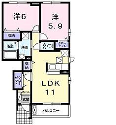 JR吉備線 備前一宮駅 徒歩15分の賃貸アパート 1階2LDKの間取り