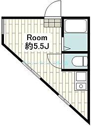 クレールブランシェ西横浜B号棟 2階ワンルームの間取り