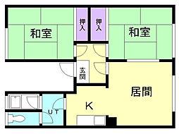 栄ハイツ 2階2LDKの間取り