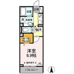 横浜市営地下鉄ブルーライン 岸根公園駅 徒歩13分の賃貸アパート 2階1Kの間取り