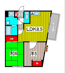 コート・La・ポルテ 1階2LDKの間取り