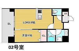 Osaka Metro谷町線 南森町駅 徒歩4分の賃貸マンション 8階1LDKの間取り