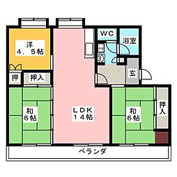 メゾン・ド・フジ B棟[1階]の間取り