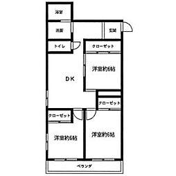第3フクマルビル 4階3DKの間取り
