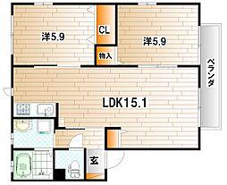 リンデンバーム B棟[2階]の間取り