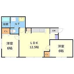北海道札幌市白石区栄通13丁目の賃貸アパートの間取り