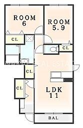 プラシード本浦 C[1階]の間取り