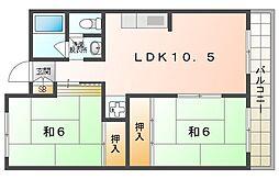 パレ守口 2階2LDKの間取り