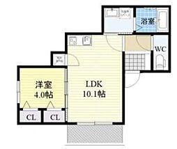 JR関西本線 平野駅 徒歩7分の賃貸アパート 3階1LDKの間取り