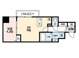 JR東海道・山陽本線 東淀川駅 徒歩2分の賃貸マンション 11階1DKの間取り