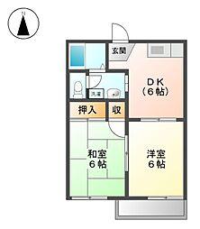 コーポ北屋敷A棟・B棟[1階]の間取り
