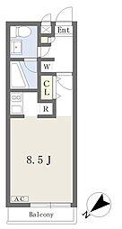 クリシェ 2階ワンルームの間取り