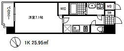 ワールドアイ神戸ハーバーランド 4階1Kの間取り