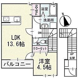コンフォートAOI 2階[202号室]の間取り