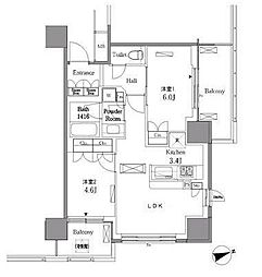 JR山手線 五反田駅 徒歩7分の賃貸マンション 3階2LDKの間取り