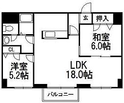 KKSオーシャンビュー[6階]の間取り