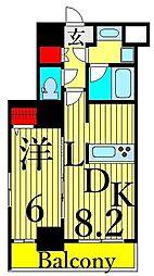 東京メトロ日比谷線 三ノ輪駅 徒歩5分の賃貸マンション 11階1LDKの間取り