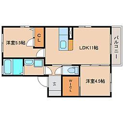 静岡県静岡市清水区追分4丁目の賃貸アパートの間取り