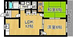 奈良県奈良市青野町の賃貸マンションの間取り