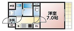 Osaka Metro千日前線 今里駅 徒歩12分の賃貸マンション 4階1Kの間取り