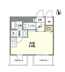 東京メトロ銀座線 溜池山王駅 徒歩3分の賃貸マンション 7階ワンルームの間取り
