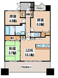 大阪府東大阪市弥生町の賃貸マンションの間取り