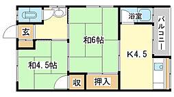 高芝荘[203号室]の間取り