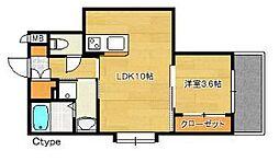 福岡市地下鉄空港線 博多駅 徒歩15分の賃貸マンション 3階1LDKの間取り