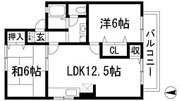 兵庫県川西市西多田2丁目の賃貸アパートの間取り