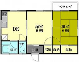 神奈川県横須賀市大津町5丁目の賃貸アパートの間取り