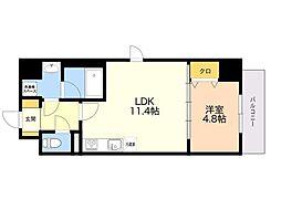 (仮)平尾1丁目マンション 6階1LDKの間取り