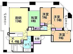 ライオンズ円山公園プレミアーク 6階4LDKの間取り