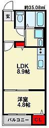 JR博多南線 博多南駅 徒歩4分の賃貸アパート 2階1LDKの間取り