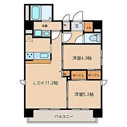 名鉄名古屋本線 山王駅 徒歩9分の賃貸マンション 5階2LDKの間取り
