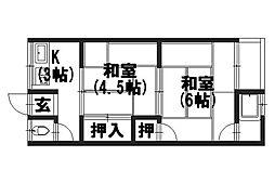 ヲサンダ荘[206号室]の間取り